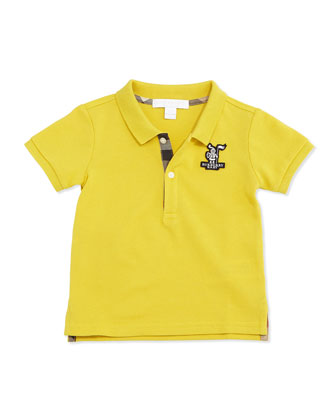 Palmer Pique Polo Shirt, Bright Yellow, Size 3M-3Y