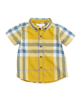 Fred Mini Short-Sleeve Check Shirt, Yellow, Size 3M-3Y