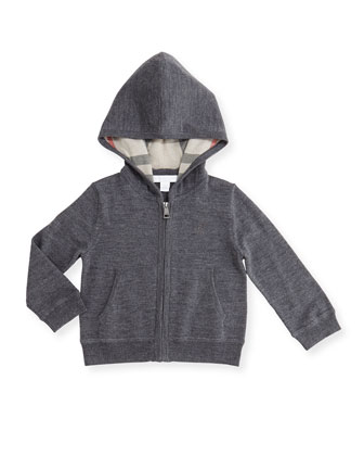 Hooded Harris Zip-Front Sweater, Gray, Size 3M-3Y