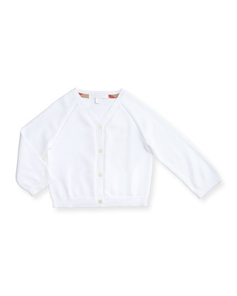 Cotton Button-Front Raglan Cardigan, White, Size 3M-3Y