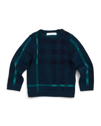 Redbury Jacquard-Check Pullover Sweater, Dark Teal, Size 3M-3Y