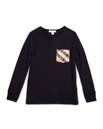YNG Long-Sleeve Check-Pocket Jersey Tee, Size 4-14