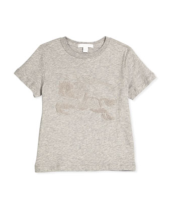 Embroidered Cotton Jersey Tee, Size 4-14