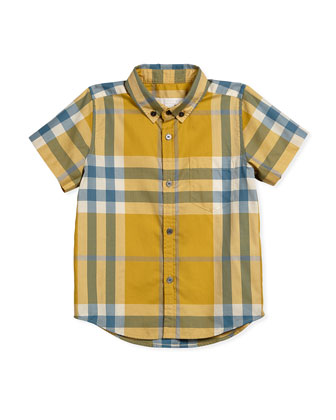 Fred Short-Sleeve Check Shirt, Yellow, Size 7-14