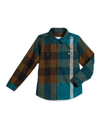 Mini Camber Check Shirt, Dark Teal, Size 4-14