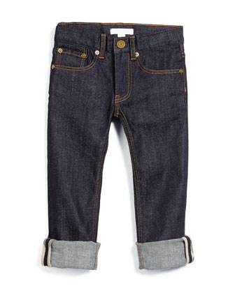 Skinny Rolled-Hem Jeans, Dark Indigo, Size 4-14