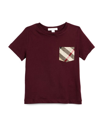 YNG Short-Sleeve Check-Pocket Jersey Tee, Burgundy, Size 4-14