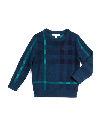 Mini Redbury Check Pullover Sweater, Dark Teal, Size 4-14