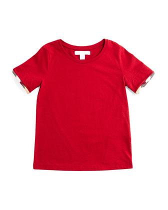Tulisa Check-Cuff Jersey Tee, Size 4-14