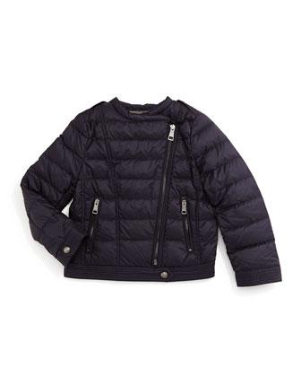 Harlesdale Quilted Biker Jacket, Navy, Size 4-14