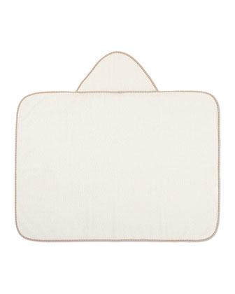Hooded Contrast-Trim Towel, Ivory/Beige