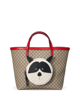 Girls' Micro GG Supreme Raccoon-Pocket Tote Bag, Beige