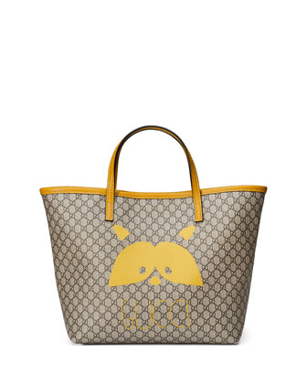 Girls' Micro GG Supreme Raccoon-Graphic Tote Bag, Beige