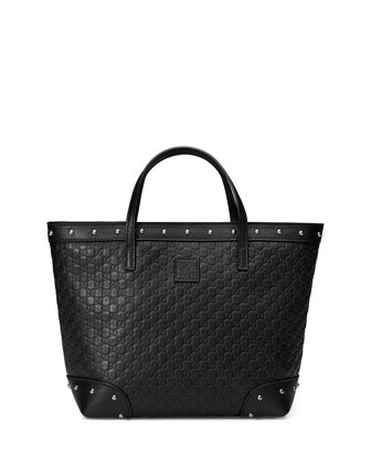 Guccissima-Leather Tote Bag, Black