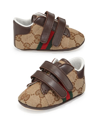 Ace Canvas Grip-Strap Sneaker, Brown, Infant