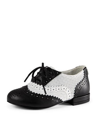 Georgia Leather Oxford, Black/White, Toddler