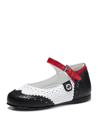 Leather Wing-Tip Mary Jane, Black/White/Red, Toddler