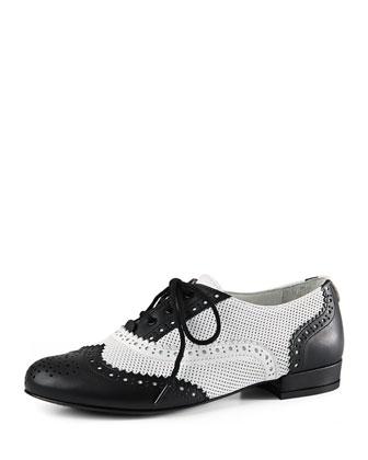 Georgia Leather Oxford, Black/White, Youth