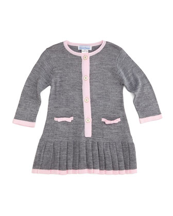 Long-Sleeve Button-Front Sweaterdress, Gray/Pink, Size 2T-6