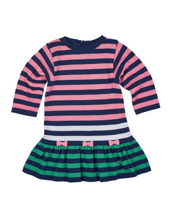 Long-Sleeve Striped Fit-and-Flare Sweaterdress, Navy/Multicolor, Size 2T-6