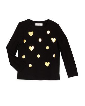 Foil-Print Crewneck Sweater, Black, Size 4-7