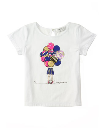 Milly Girl w/ Balloons Jersey Tee, White, Size 4-7