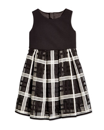Embroidered-Organza Pleated Dress, Black/White, Size 8-14