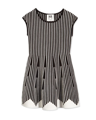 Vertical-Stripe Fit-and-Flare Dress, Black/White, Size 8-14