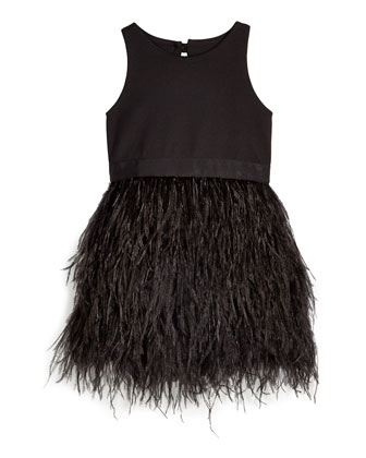 Blaire Feather-Skirt Sleeveless Dress, Black