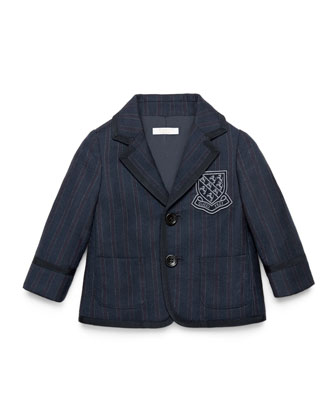 Striped Wool Prep School Jacket, Navy, Size 12-36 Months