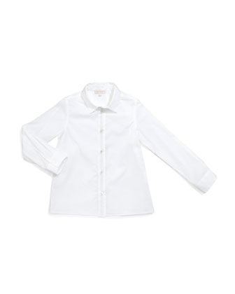 Long-Sleeve Poplin Shirt, White, Size 9-36 Months