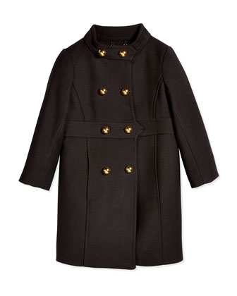Bonded Wool Madeline Coat, Black, Size 8-14
