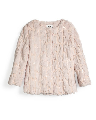 Sequin Faux-Fur Coat, Blush, Size 4-7