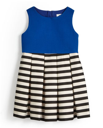 Pleated A-Line Dress w/ Stripes, Cobalt