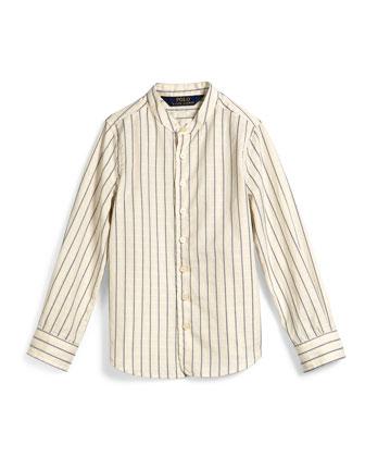 Dobby-Stripe Cotton Shirt, Cream, Size 2T-6X