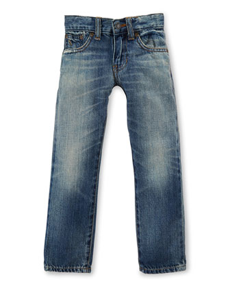 Faded Slim-Fit Denim Jeans, Blue, Size 2-7