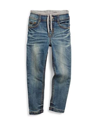 Arlen Slim-Fit Biker Jeans, Black, Size 4-14