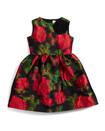 Prince de Galles Floral A-Line Dress, Black/Fuchsia, Size 4-6