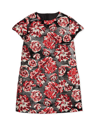 Peony Brocade Sheath Dress, Black/Raspberry, Size 8-12