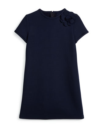Short-Sleeve Wool-Blend Shift Dress, Blue, Size 8-12