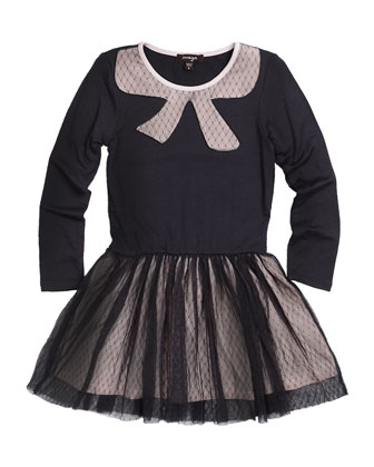 Skyler Long-Sleeve Fit-and-Flare Combo Dress, Charcoal, Size 4-6