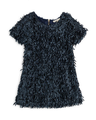 Open-Front Faux-Fur Coat & Short-Sleeve Confetti Dress