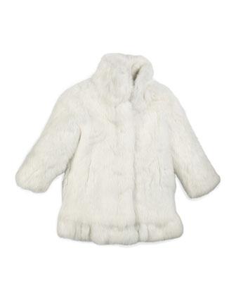 Rabbit-Fur Coat, White, Size 2-16
