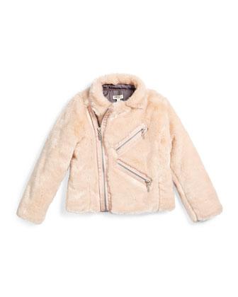 Faux-Fur Zip-Front Jacket, Light Pink, Size 6-12