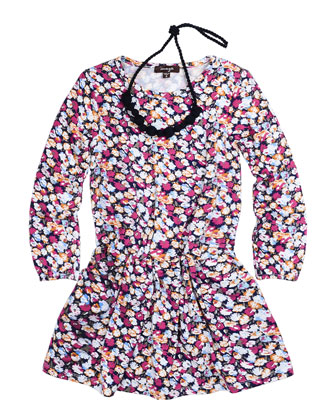 Long-Sleeve Pleated Floral Dress w/ Necklace, Multicolor, Size 4-6