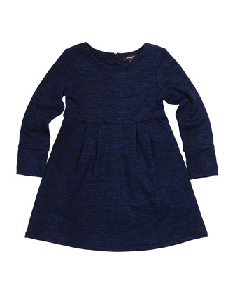 Rita Long-Sleeve Pleated Slub-Knit Dress, Eclipse, Size 4-6