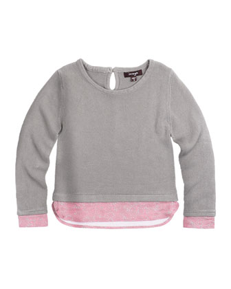 Long-Sleeve Illusion Sweater, Gray, Size 8-14