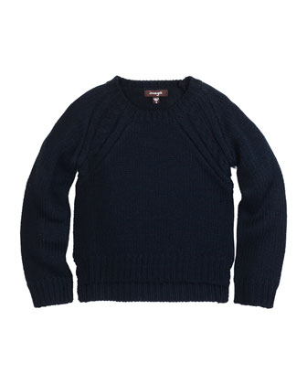 Raglan Pullover Sweater, Navy, Size 8-14