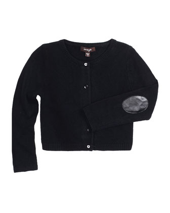 Drew Button-Front Cardigan w/ Elbow Patches, Black, Size 8-14