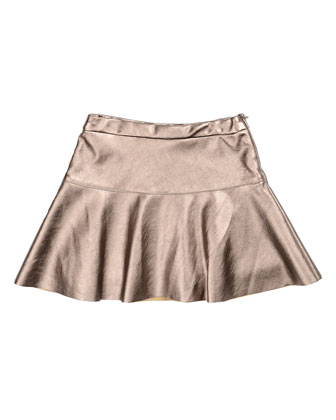 Metallic Faux-Leather A-Line Skirt, Copper, Size 8-14